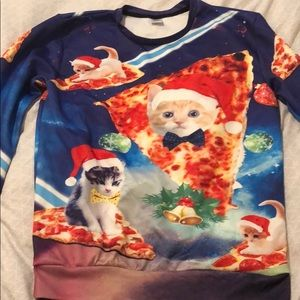 Sweaters - Pizza cat ugly Christmas sweater